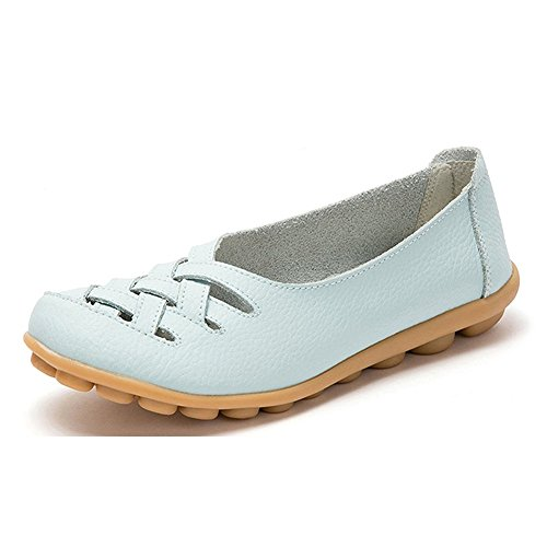 Blivener Womens Casual Loafers Hollow Flat Shoes Driving Shoes 02lightblue