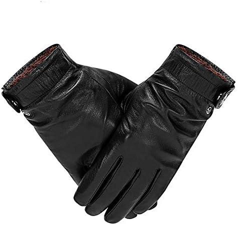 シープスキン冬プラスベルベット暖かく防風防水の機関車に乗って革のタッチスクリーンの手袋 (Color : Black, サイズ : L)