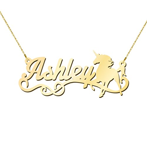 14K Yellow Gold Unicorn Personalized Name Necklace by JEWLR 14k Yellow Gold Unicorn