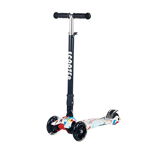 JATEN Lean Scooter for Kids - Deluxe Aluminum 4 Wheel Glider with Kick n Go, Lean 2 Turn