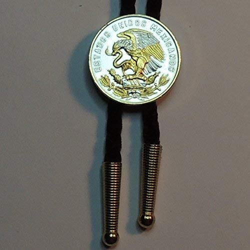 Mexican eagle - Gorgeous 2-Toned (Uniquely Hand done) Gold and Silver Coin Bolo Ties for Men for women for boys for kids