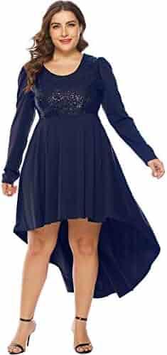 cf19c6924b MERRYA Women s Plus Size Sequin Christmas Party Casual High-Low Tunic Maxi  Dress