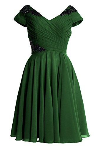 Cocktail Gown Mother Sleeve Cap Dress Dunkelgrun Short Elegant MACloth of Bride Formal O4gw84
