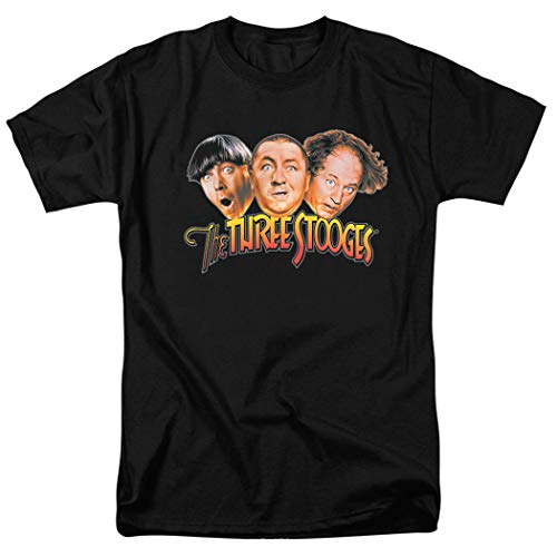 The Three Stooges Heads T Shirt (Large) Black]()