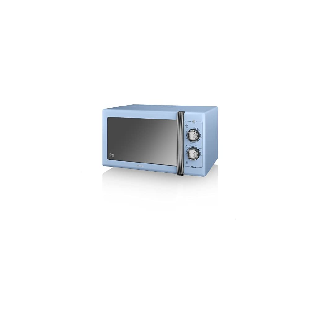 SWAN Retro Manual Microwave, 25 Litre, 900 W, Blue