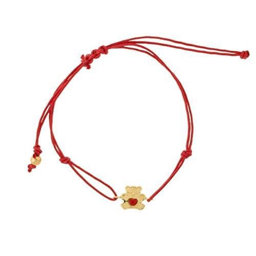 Ysora - Bracelet Or Ourson Coeur Rouge, Cordon Rouge - 375 ‰ - Cordon rouge