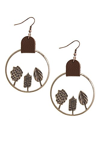 [BAUBLES & CO LEAF CUTOUT FAUX LEATHER ACCENT EARRINGS (Antique Gold)] (Elephant Ears And Nose Costume)