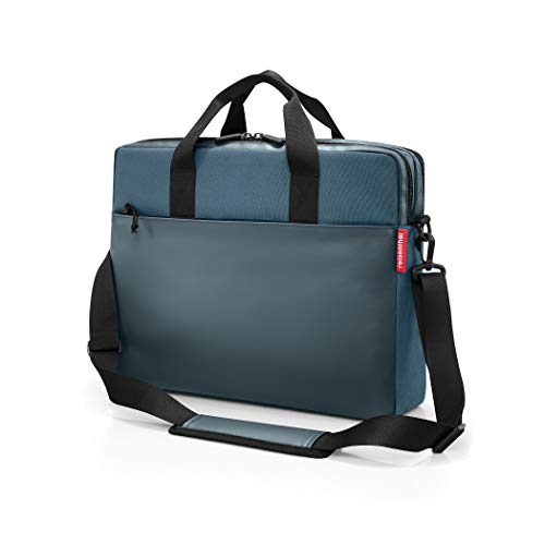 (reisenthel Workbag, Messenger Style Carryall with Padded Laptop and Phone Pocket, Adjustable Shoulder Strap, Carrying Handles and Multiple Organizational Compartments, Canvas Blue)
