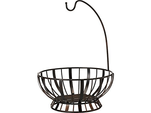 Gourmet Basics by Mikasa 5164228 Band and Stripe Metal Fruit Basket with Banana Hook, Antique Black