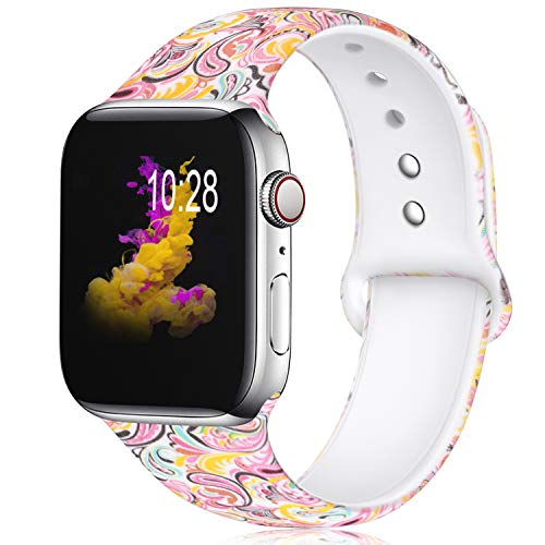 KOLEK Floral Bands Compatible with Apple Watch 42mm 44mm, Silicone Fadeless Pattern Printed Replacement Bands for iWatch Series 4 3 2 1, Colorful Cloud, M, L