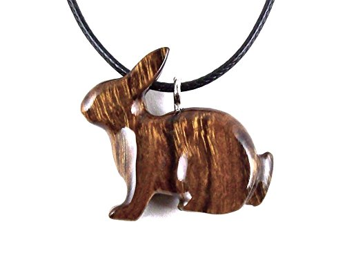 Bunny Pendant Necklace Rabbit Jewelry Hand Carved in Desert Ironwood