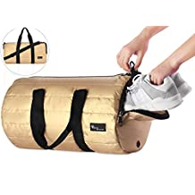 """Gym Sports Travel Duffel Bag, Voova Foldable 18"""" Small and Lightweight Men Women Packable Water-Resistant Heavy-Duty Luggage Bag with Shoe Compartment"""