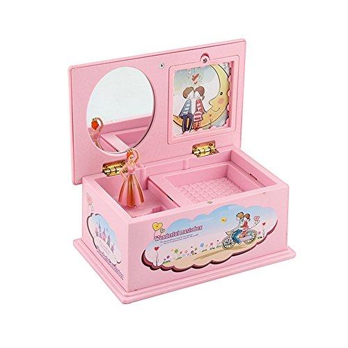 Lanlan Cartoon Pink Plastic Music Box Carousel Box Home Decoration Children Jewelry Box Christmas (Hawaiian Halloween Music Cd)