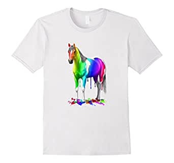 Men's Funny Colorful Rainbow Paint Horse 3XL White