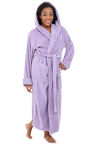 Alexander Del Rossa Womens Turkish Terry Cloth Robe, Long Cotton Hooded Bathrobe, Small Medium Orchid Petal Purple (A0127PRPMD)