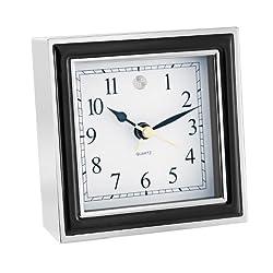 Natico Alarm Clock, Black Enamel And Silver