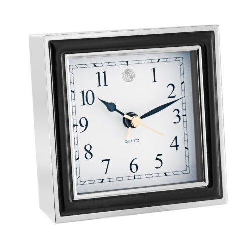 Natico  Alarm Clock, Black Enamel and Silver