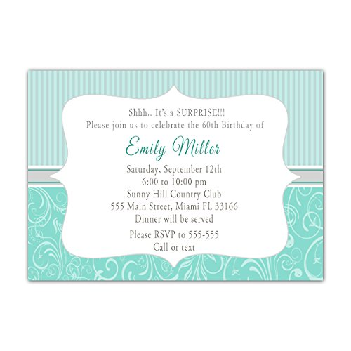 30 Invitations Swirl Strpes Soft Mint Green And Silver Grey Adult Birthday Party Personalized Cards + 30 White Envelopes