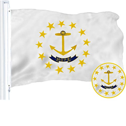 G128 - Rhode Island State Flag | 3x5 feet | Embroidered 210D - Indoor/Outdoor, Vibrant Colors, Brass Grommets, Quality Polyester