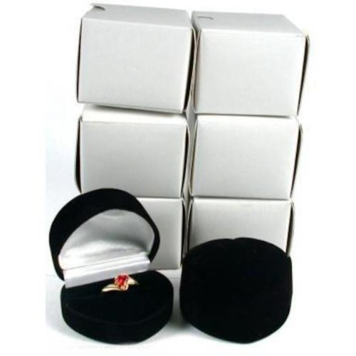 (6 Black Flocked Heart Ring Gift Jewelry Display Boxes)
