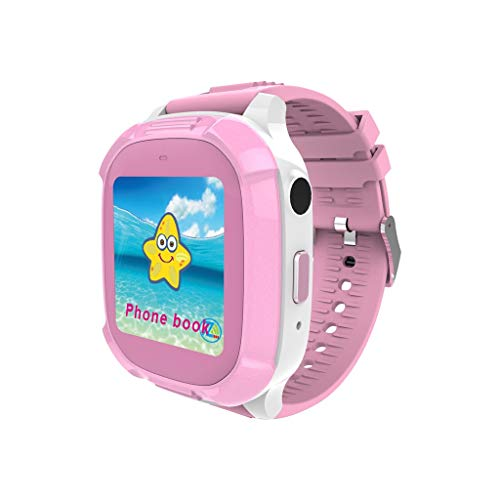 Yukuai DS58 Kids Sport Camera Smart Watch for GPS Tracker with Waterproof SOS Location Device Tracker Baby Safe Anti-Lost Activity Monitor Birthday Gift (Pink)