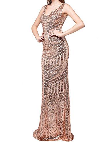 JYDress - Vestido - para mujer beige oro rosa 46