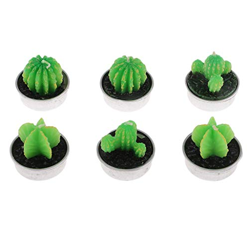 FRECI 6pcs Cactus Tea Light Decorative Candles Succulent Cactus Candles for Party Wedding Spa Home Decoration Birthday Gifts ()