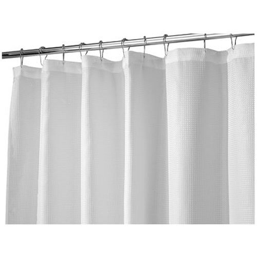 InterDesign Carlton Soft Fabric Shower Curtain, Long 72 x 84, White