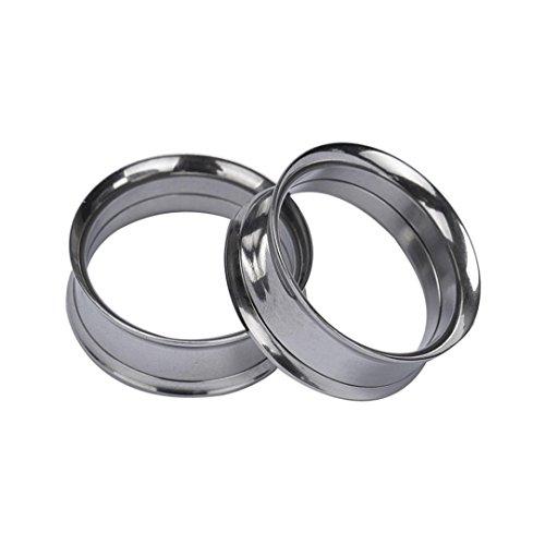 Tunnels Earrings Flesh (DZT1968 1 Pair new Stainless Steel Screw Ear Gauges Flesh Tunnels Plugs Expander gift(Diameter:10mm) (Silver))