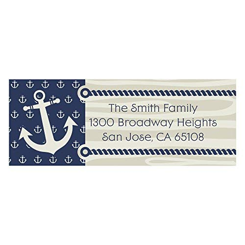 Custom Ahoy - Nautical - Personalized Party Return Address Labels - Set of 30