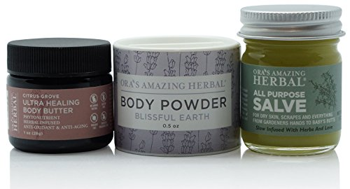Natural Travel Size Skin Care Set, Natural Moisturizer Hand and Body Care Cream, Herbal Tea Tree Oil Salve Balm With Organic Calendula, Ultra Healing Shea Body Butter, Talc-Free Body Powder by Ora's Amazing Herbal (Image #7)