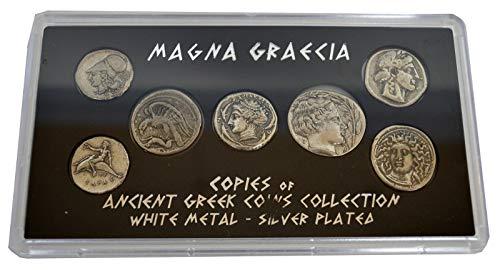 Estia Creations Magna Graecia Historical Replica 7 Silver Plated Coins - Ancient Greece - Sicely