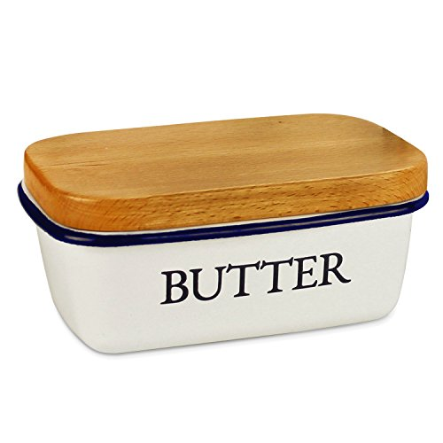 SveBake Butter Dish - Enamel Butter Boat with Beechwood Lid, (Hand Painted Butterfly Knob)