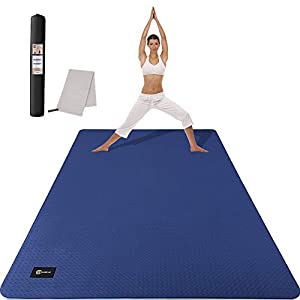 CAMBIVO Large Yoga Mat, Non-Slip Exercise Fitness Mat for Yoga, Pilates, Workout (72″x 48″x 6mm)