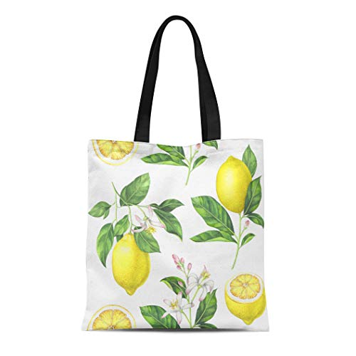 Semtomn Canvas Tote Bag Green Lime Lemon Pattern on Watercolor Yellow Drawing Botanical Durable Reusable Shopping Shoulder Grocery Bag