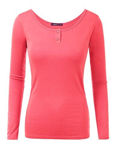 Doublju Women Basic Colorful 3/4 Sleeve Big Size T-Shirt CORAL,2XL