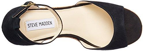 Steve Madden Damen Keil Sandalette, Schwarz, 39 EU