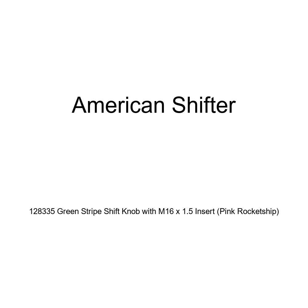 Pink Rocketship American Shifter 128335 Green Stripe Shift Knob with M16 x 1.5 Insert