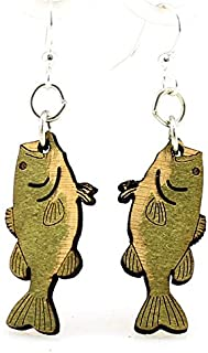 product image for Green Tree Jewelry Bass Fish Fishing Wood Wooden Laser Cut Earrings #1188