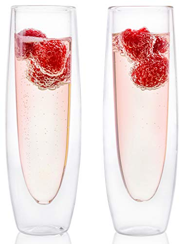 Eparé Champagne Flutes, Insulated Stemless Glass Set (5 oz, 150 ml) – Flute Glass for Brunch Wine & Wedding Cocktails – Reusable Party Cups - 2 Glasses