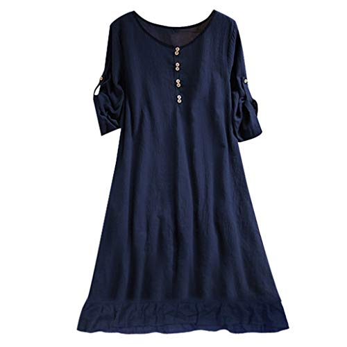 iLUGU Women's Linen Retro Frog Button Blouse Loose Tunic Dress with Pockets ()
