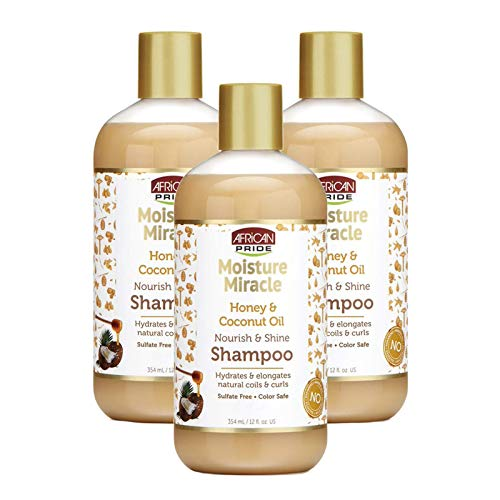 African Pride Moisture Miracle Honey & Coconut Oil Shampoo (3 Pack) - For Natural Coils & Curls, Nourishes & Shines, Sulfate Free, Color Safe, 12 oz