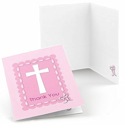 Delicate Pink Cross - Baby Shower or Baptism Thank You Cards (8 count) (Pink Confirmation Note Cards)