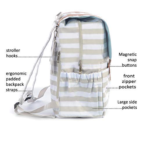 ... SavvyMami Striped Diaper Bag Backpack for Mom - Bags for Stylish Moms – Large  Black and ... 29eefd1ab011d