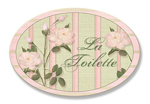 Pink Stripe Roses La Toilette Oval Bath - Oval Plaque Rose
