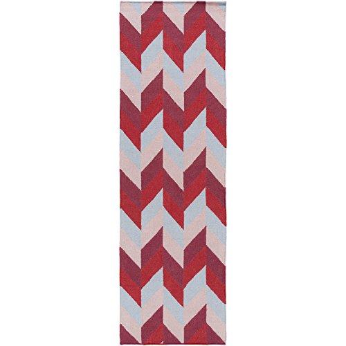 Surya TAL1005-268 Hand Woven Geometric Runner, 2-Feet 6-Inch by 8-Feet, Cherry/Salmon/Magenta/Slate