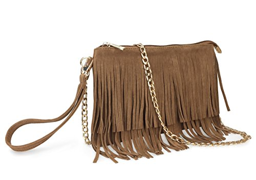 Body Fringe (Hoxis Fringe Cross Body Bag Womens Small Shoulder Bag Top Zip Wristlet Brown)