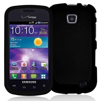 Black Rubberized Snap-On Hard Skin Case Cover New for Samsung Illusion i110