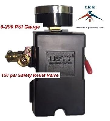 Air Compressor Pressure Control Switch 4 Ports 95-125 PSI w/ 0-200 PSI Back mount Gauge 150 PSI pop off valve