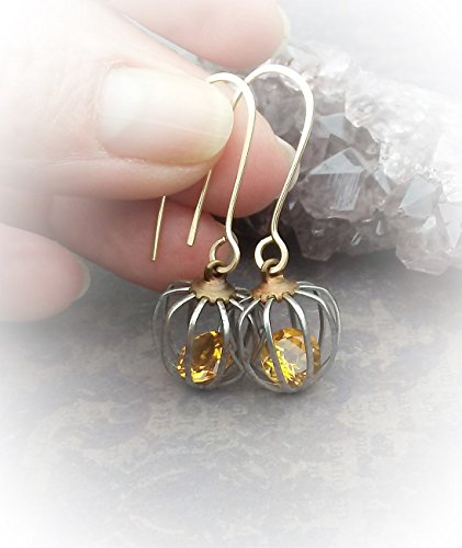 - Caged Citrine Earrings-Industrial Cage Earrings-14k Goldfil Ear Wires W/ Solitaire Citrine Encased In Steel And Brass Cages
